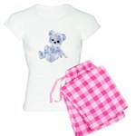 Blue & White Teddy Bear Women's Light Pajamas