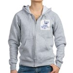 Blue & White Teddy Bear Women's Zip Hoodie