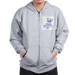 Blue & White Teddy Bear Zip Hoodie