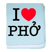 I Love (Heart) Pho baby blanket