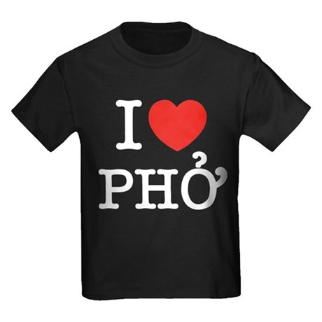 I Love (Heart) Pho Kids Dark T-Shirt