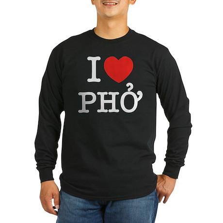 I Love (Heart) Pho Long Sleeve Dark T-Shirt