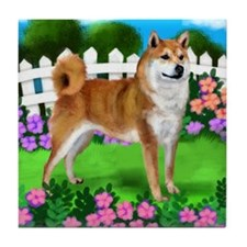 SHIBA INU DOG GARDEN Tile Coaster