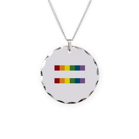 Gay Rights Equal Sign Necklace Circle Charm