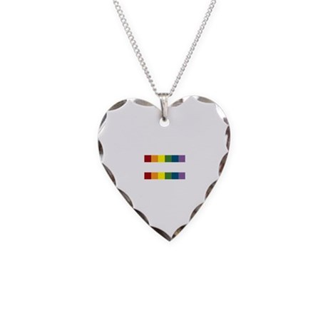Gay Rights Equal Sign Necklace Heart Charm
