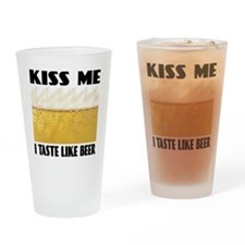 Kiss Me Beer Drinking Glass