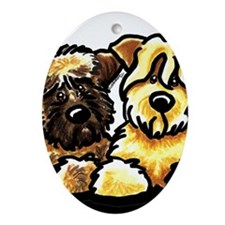 Wheaten Terrier Cartoon Ornament (Oval)