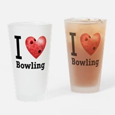 I Love Bowling Drinking Glass