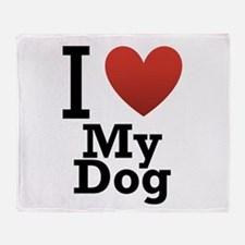 I Love My Dog Throw Blanket