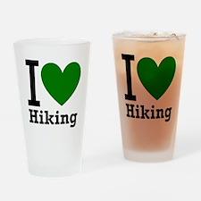 I Love Hiking Green Drinking Glass