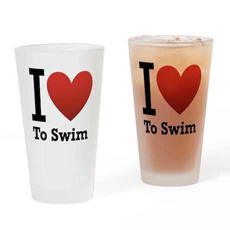 I Love to Swim Drinking Glass