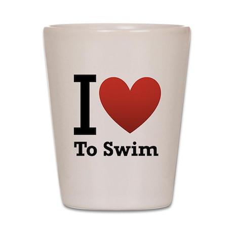 I Love to Swim Shot Glass