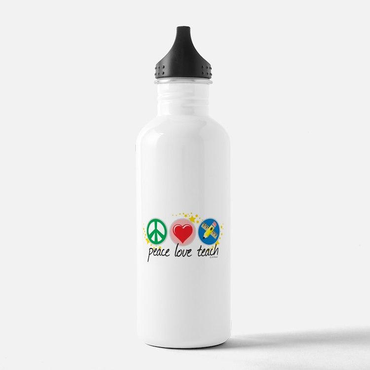 Peace Love Teach Water Bottle