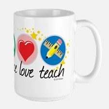 Peace Love Teach Large Mug