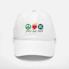 Peace Love Teach Baseball Baseball Cap