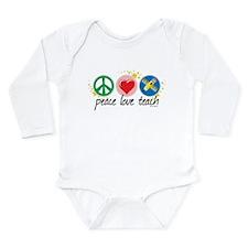 Peace Love Teach Long Sleeve Infant Bodysuit