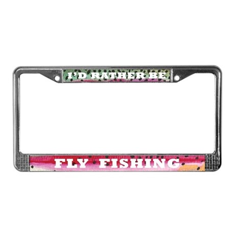 Rainbow trout fly fishing license plate frame by troutwhiskers for Day fishing license ca