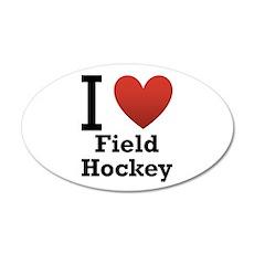 I Love Field Hockey 22x14 Oval Wall Peel