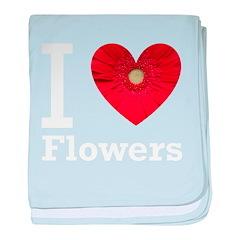 I Love Flowers baby blanket