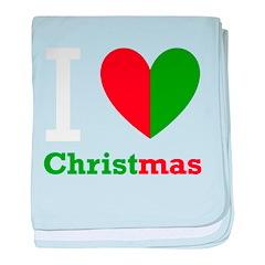 I Love Christmas baby blanket