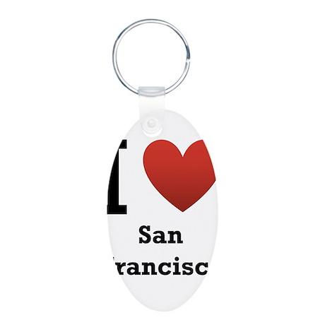 I Love San Francisco Aluminum Oval Keychain