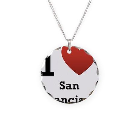 I Love San Francisco Necklace Circle Charm