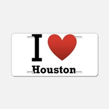 I Love Houston Aluminum License Plate