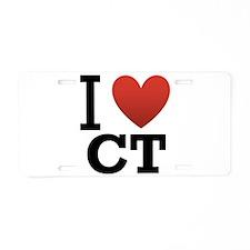 I Love CT Aluminum License Plate