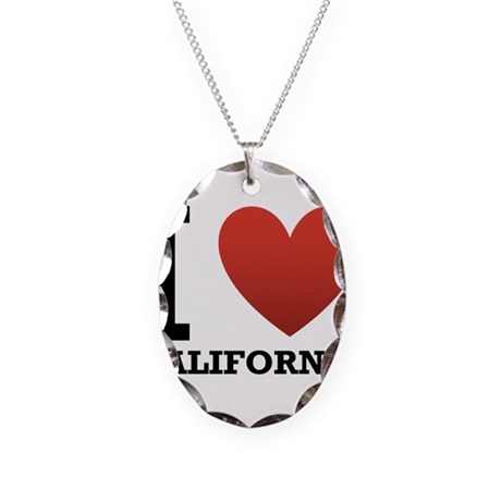 I Love California Necklace Oval Charm