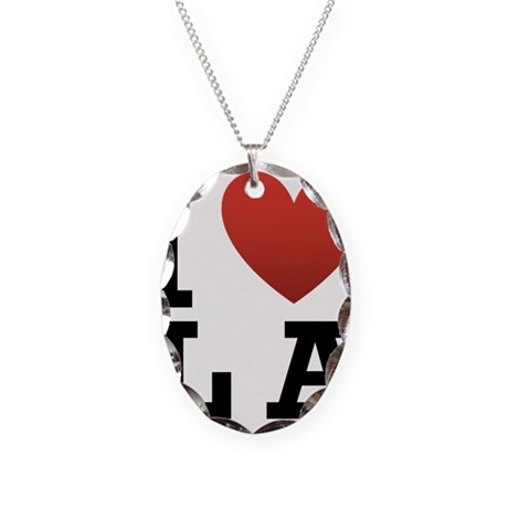 I Love LA Necklace Oval Charm