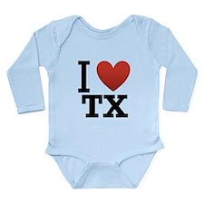I Love TX Long Sleeve Infant Bodysuit
