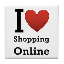 I <3 Shopping Online Tile Coaster