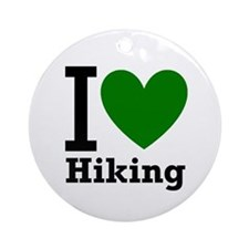 I Love Hiking Green Ornament (Round)