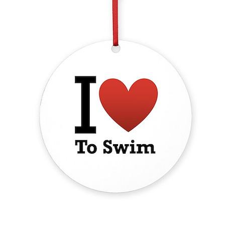 I Love to Swim Ornament (Round)