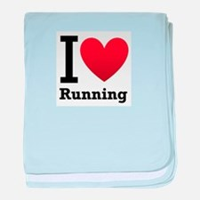 I Love Running baby blanket