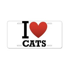 I Love Cats Aluminum License Plate