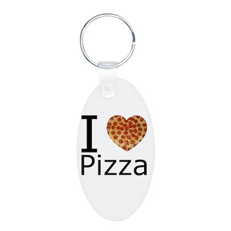 I Heart Pizza Aluminum Oval Keychain