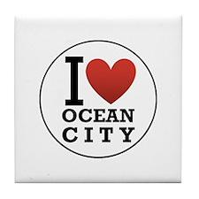 I <3 Ocean City Tile Coaster