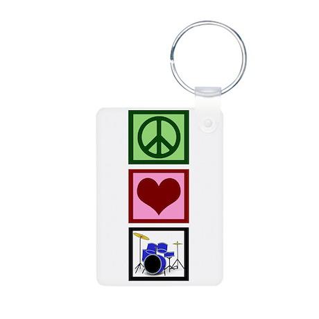 Peace Love Drums Aluminum Photo Keychain