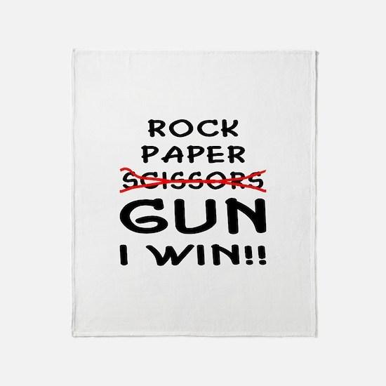 Rock Paper Scissors Gun I Win Throw Blanket