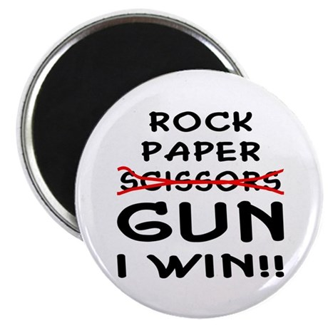 Rock Paper Scissors Gun I Win Magnet