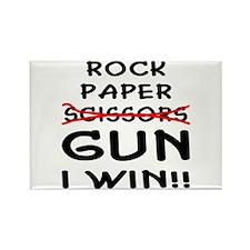 Rock Paper Scissors Gun I Win Rectangle Magnet