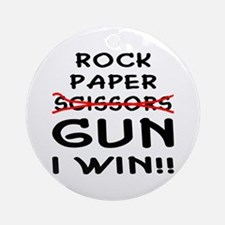 Rock Paper Scissors Gun I Win Ornament (Round)