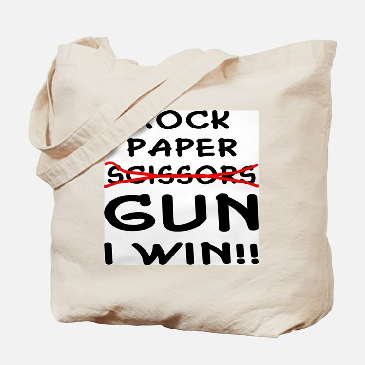 Rock Paper Scissors Gun I Win Tote Bag