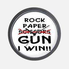 Rock Paper Scissors Gun I Win Wall Clock