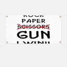 Rock Paper Scissors Gun I Win Banner