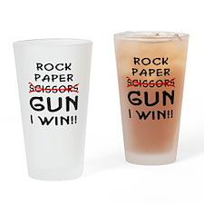 Rock Paper Scissors Gun I Win Drinking Glass