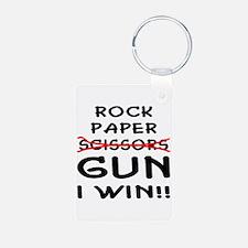 Rock Paper Scissors Gun I Win Keychains