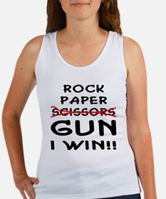 Rock Paper Scissors Gun I Win Women's Tank Top