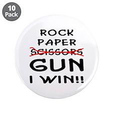 """Rock Paper Scissors Gun I Win 3.5"""" Button (10 pack"""